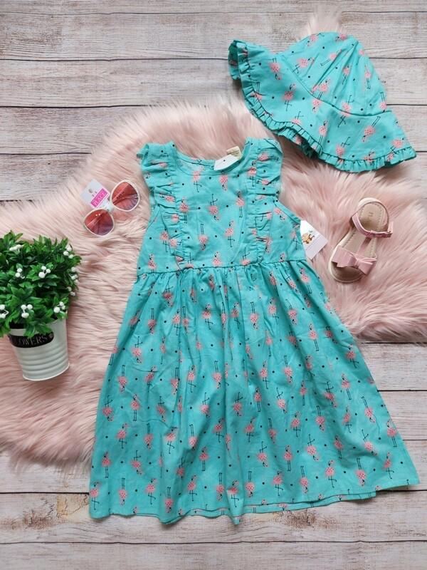 Vestido turquesa con flamingos + sombrero, 6 años