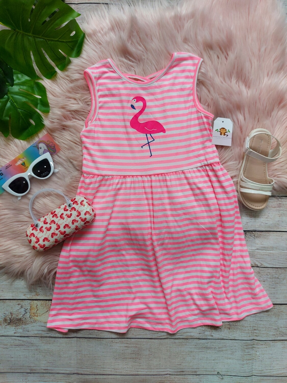 Vestido rosa de flamingo, 6t