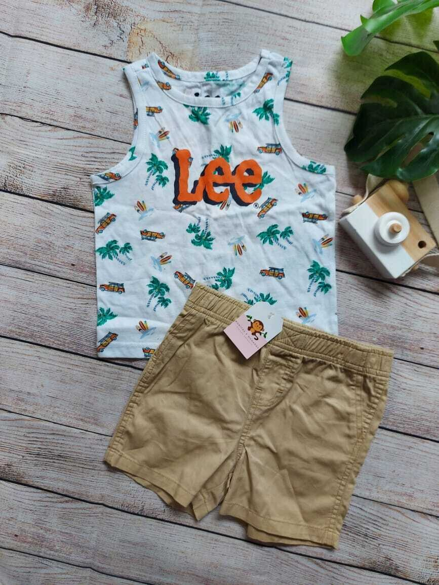 Set 2 piezas Lee, camiseta bbd playera + short caqui, 12 m