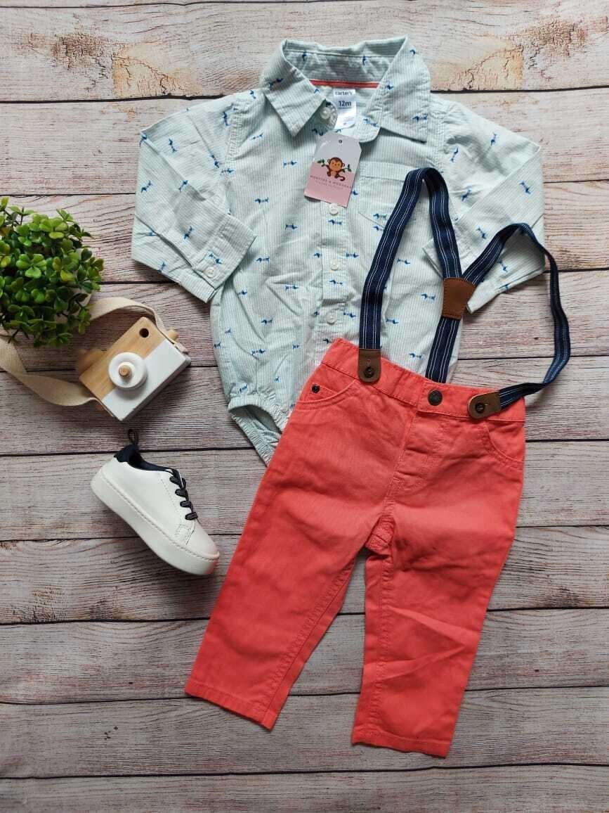 Set 2 piezas Carters, camisa estilo bodysuit + pantalón con tirantes, 12 meses