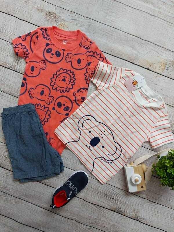 Set 3 piezas Koala, camiseta + bodysuit + short denim, 24 meses