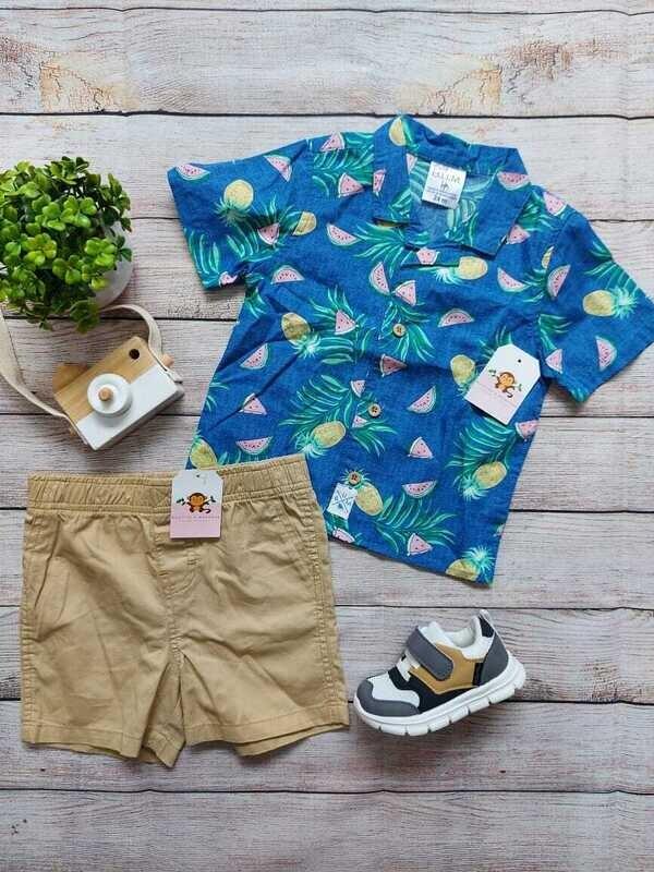 Set 2 piezas, camisa azul sandías + short caqui, 24 meses