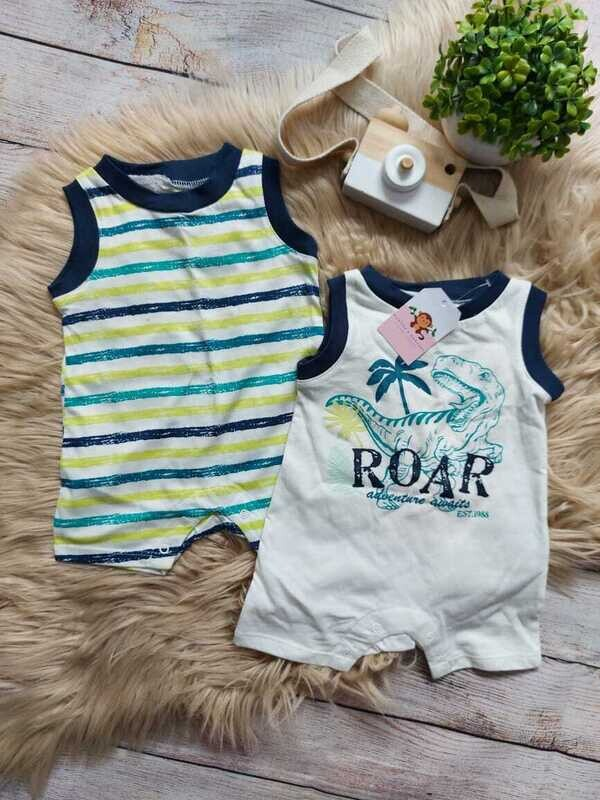 Set 2 Rompers Dinosaurio, 0 a 3 meses