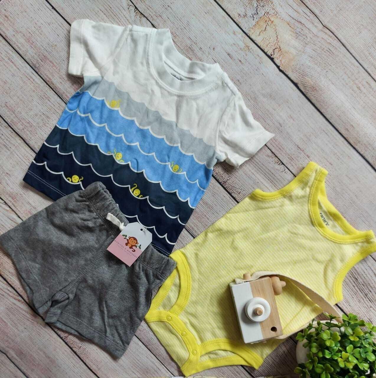 Set 3 piezas Carters, camiseta pulpos + bodysuit amarillo + short gris, 3 a 6 m