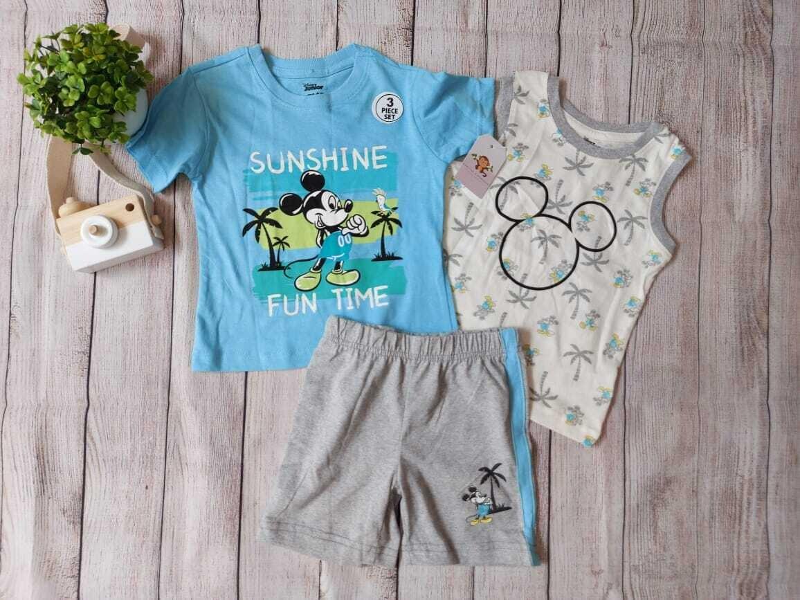 Set 3 piezas Disney, camiseta celeste + bbd playero + short gris, 18m