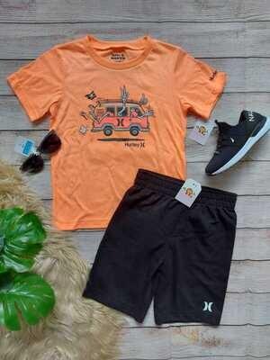Set 2 piezas Hurley, camiseta combi + short negro, 7 años