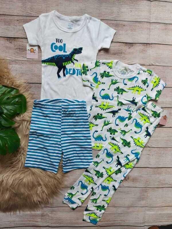 Set 2 pijamas Dinosaurio, 2 camisetas + short + pantalón, 2 años