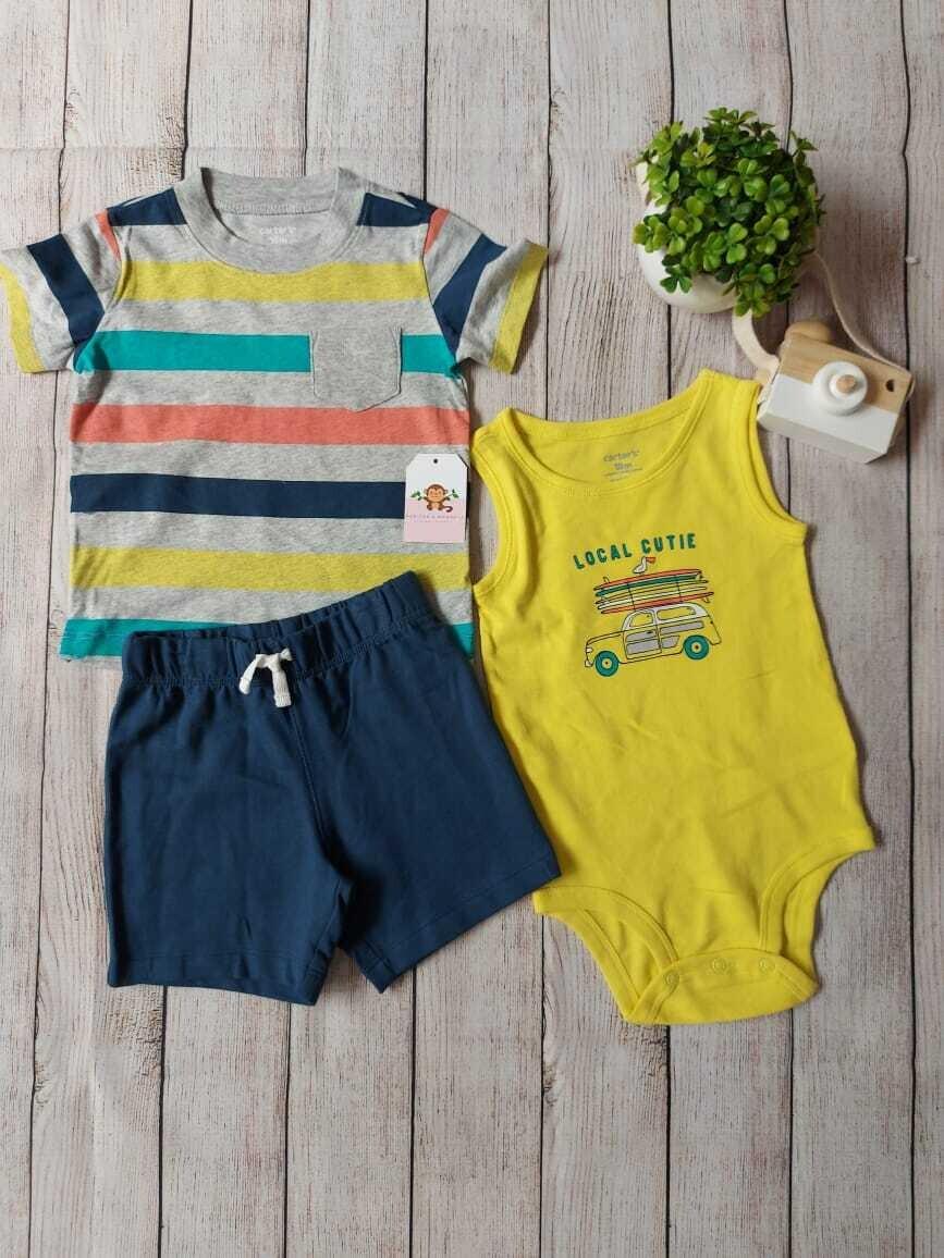 Set 3 piezas Carters Playero, camiseta a rayas + bodysuit amarillo + short azul, 18m