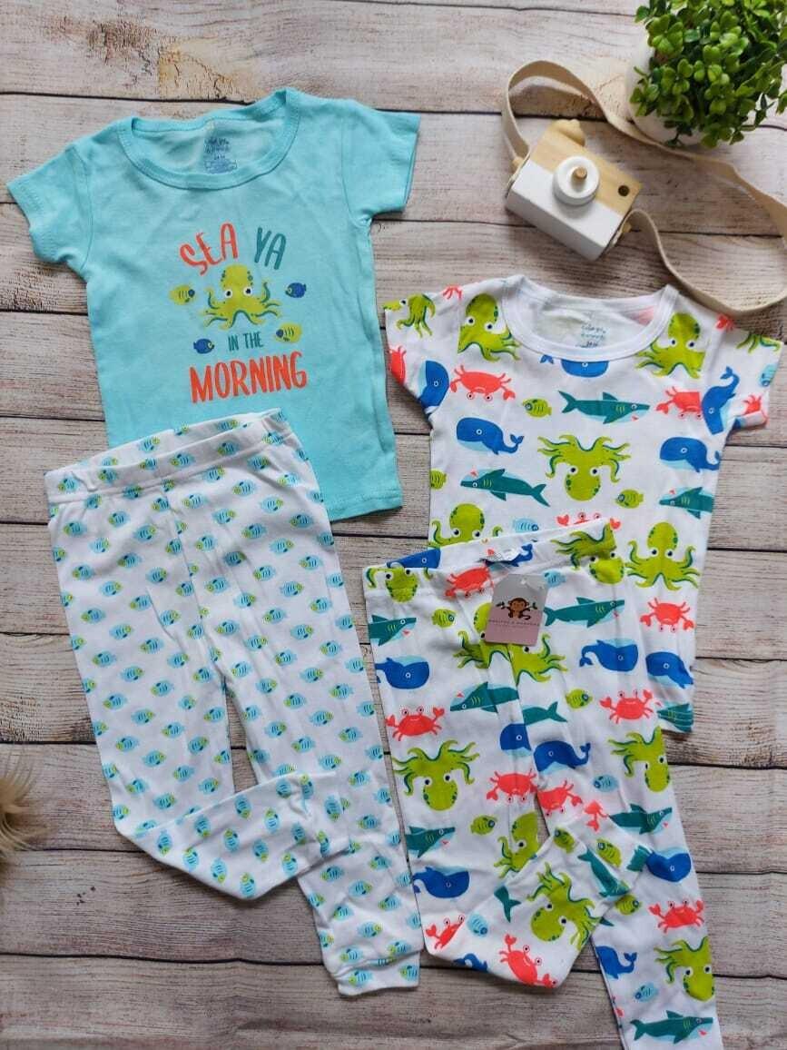 Set 2 pijamas pulpo, 2 camisetas manga corta + 2 pantalones, 24m