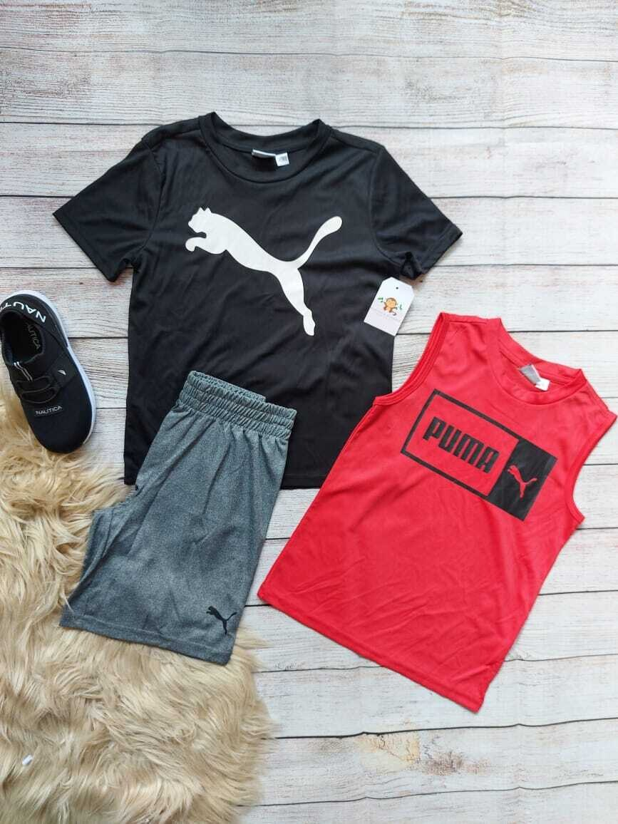 Set 3 piezas Puma, camiseta negra + bbd rojo + pantaloneta gris, 5 años