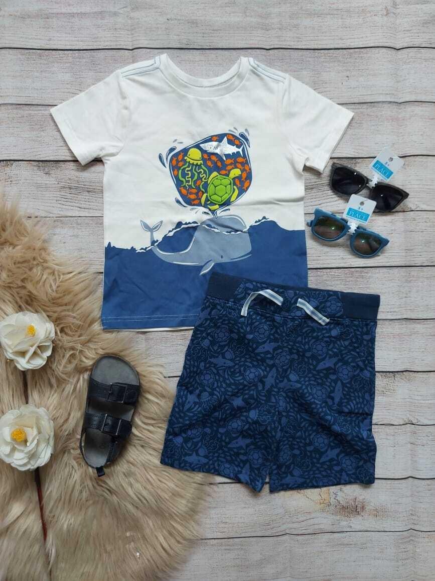 Set Camiseta Ballena + short azul, 4 años