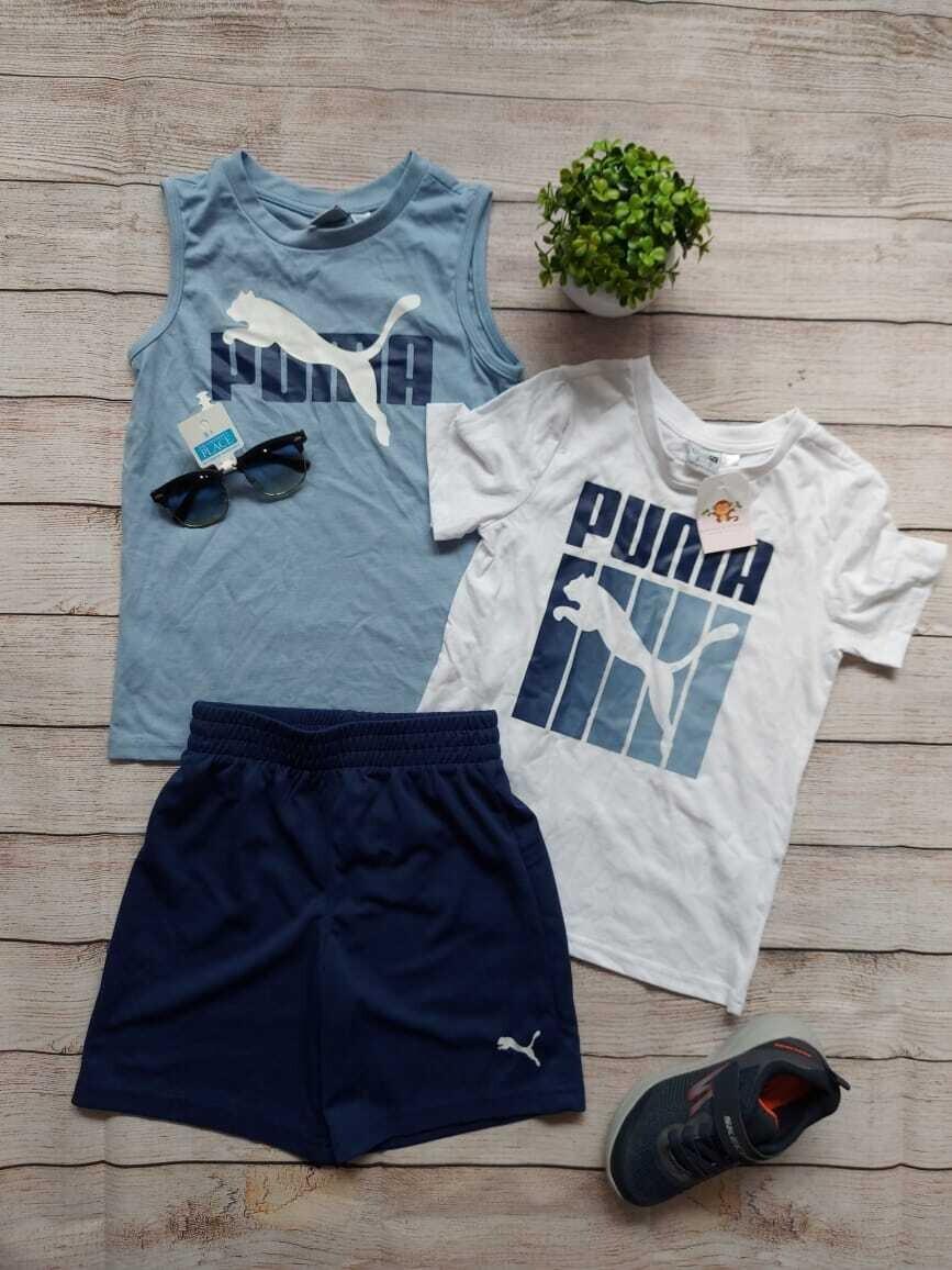 Set 3 piezas Puma, camiseta blanca + camiseta bbd + pantaloneta azul, 6 años