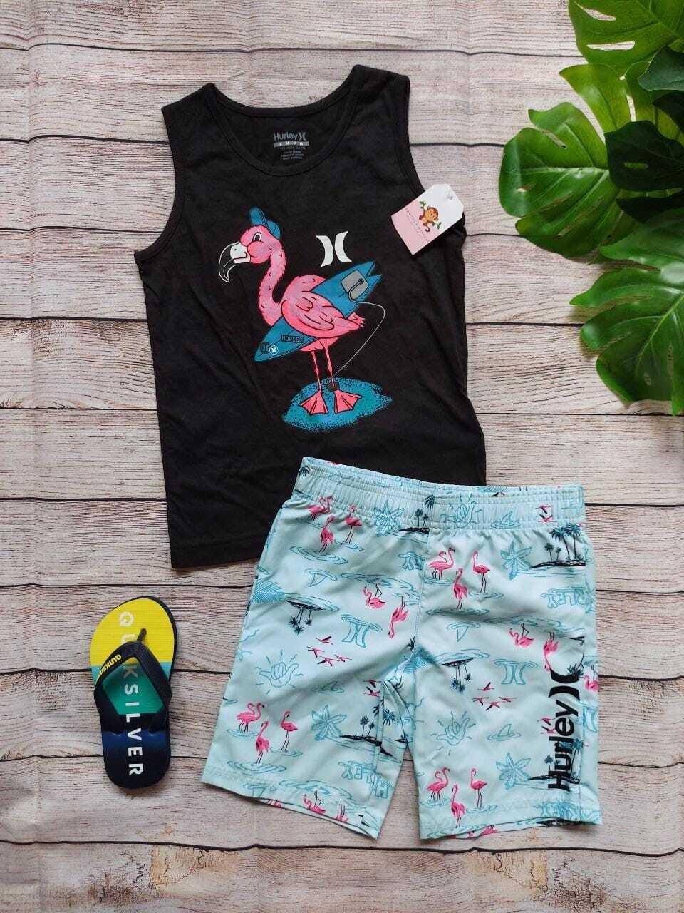 Set Hurley, camiseta bbd negra flamingo + bermuda playera celeste, 5 - 6 años