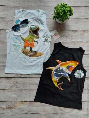 Pack 2 camisetas bbds, Dinosaurio y tiburón, 6 años