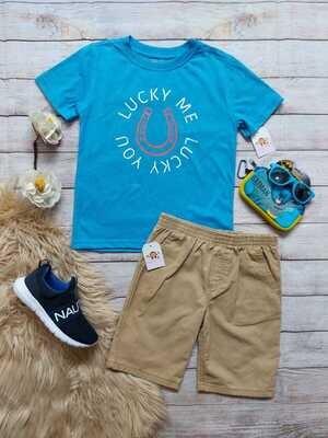 Set camiseta azul claro + bermuda color caqui, 6 años