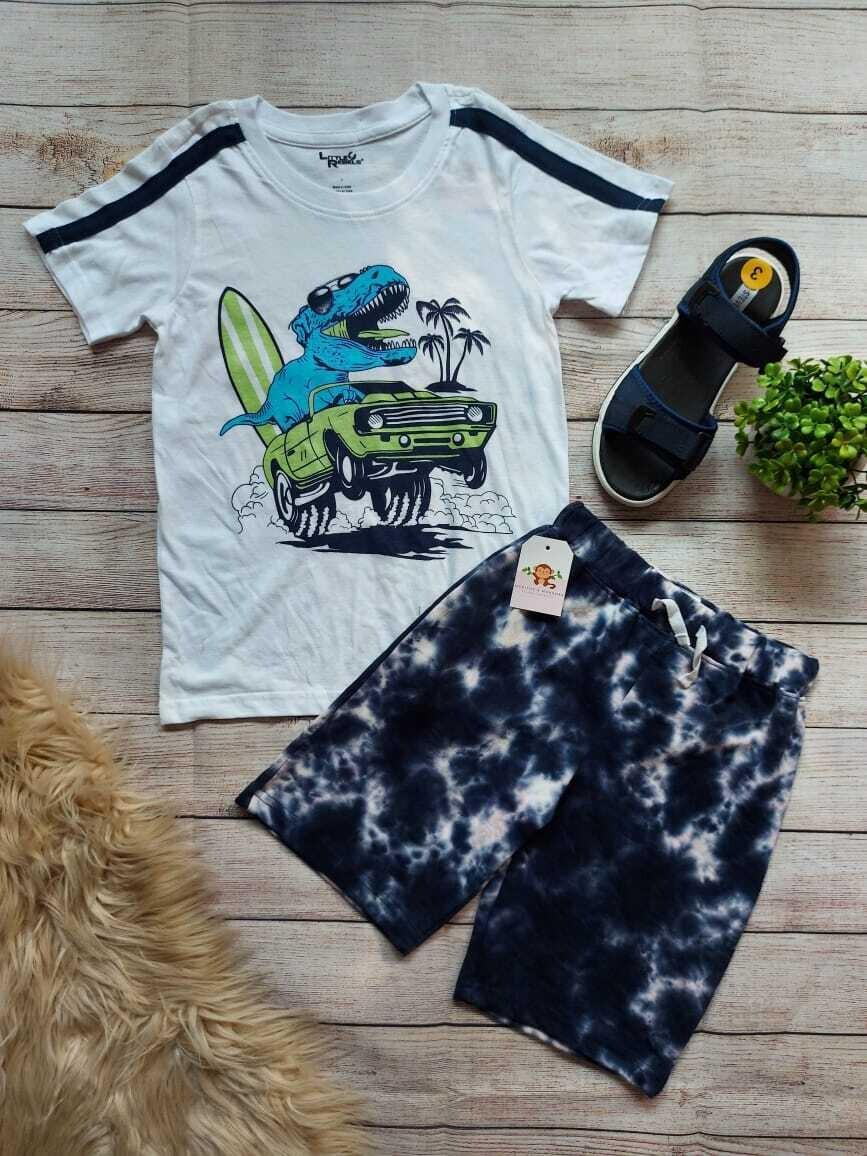 Set camiseta blanca Dino + pantaloneta azul, 7 años