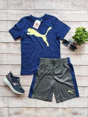 Set Puma, camiseta azul + pantaloneta gris con franjas azules, 6 años