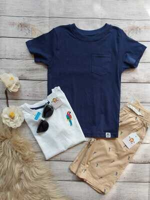 Set 3 piezas, camiseta azul marino + camiseta blanca + bermuda caqui, 6 años