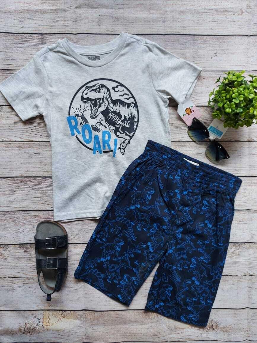 Set camiseta gris Roar Dino + bermuda azul, 5 años