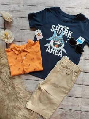 Set 3 piezas, camisa estilo polo + camiseta azul tiburón + bermuda caqui, 7 años