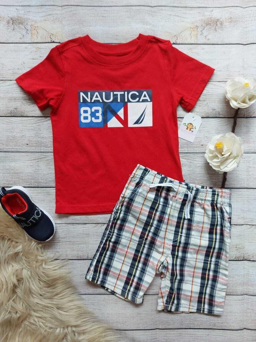 Set Nautica, camiseta roja + short cuadros, 3 años