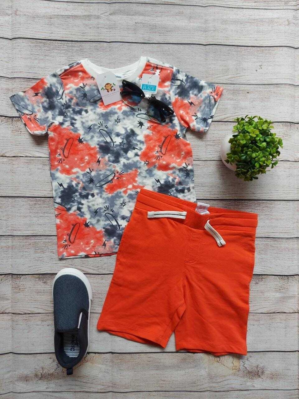 Set Tommy Bahama, camiseta patineta + short anaranjado, 4 años