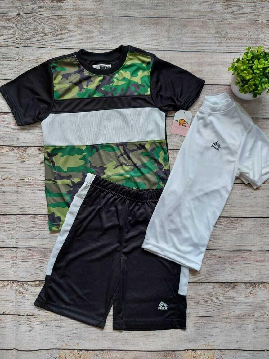 Set 3 piezas deportivo RBX, 2 camisetas + pantaloneta, 5 años