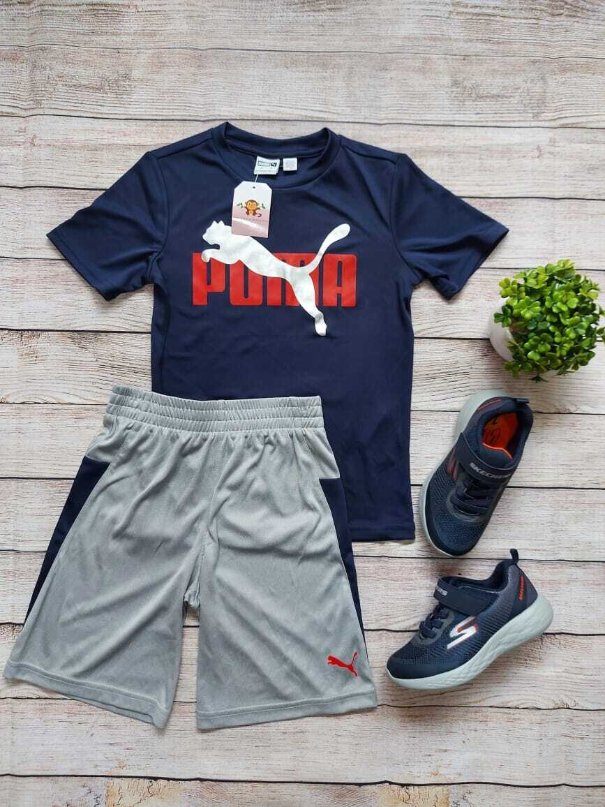 Set Puma, camiseta color azul marino + pantaloneta gris con franjas azules, 6 años
