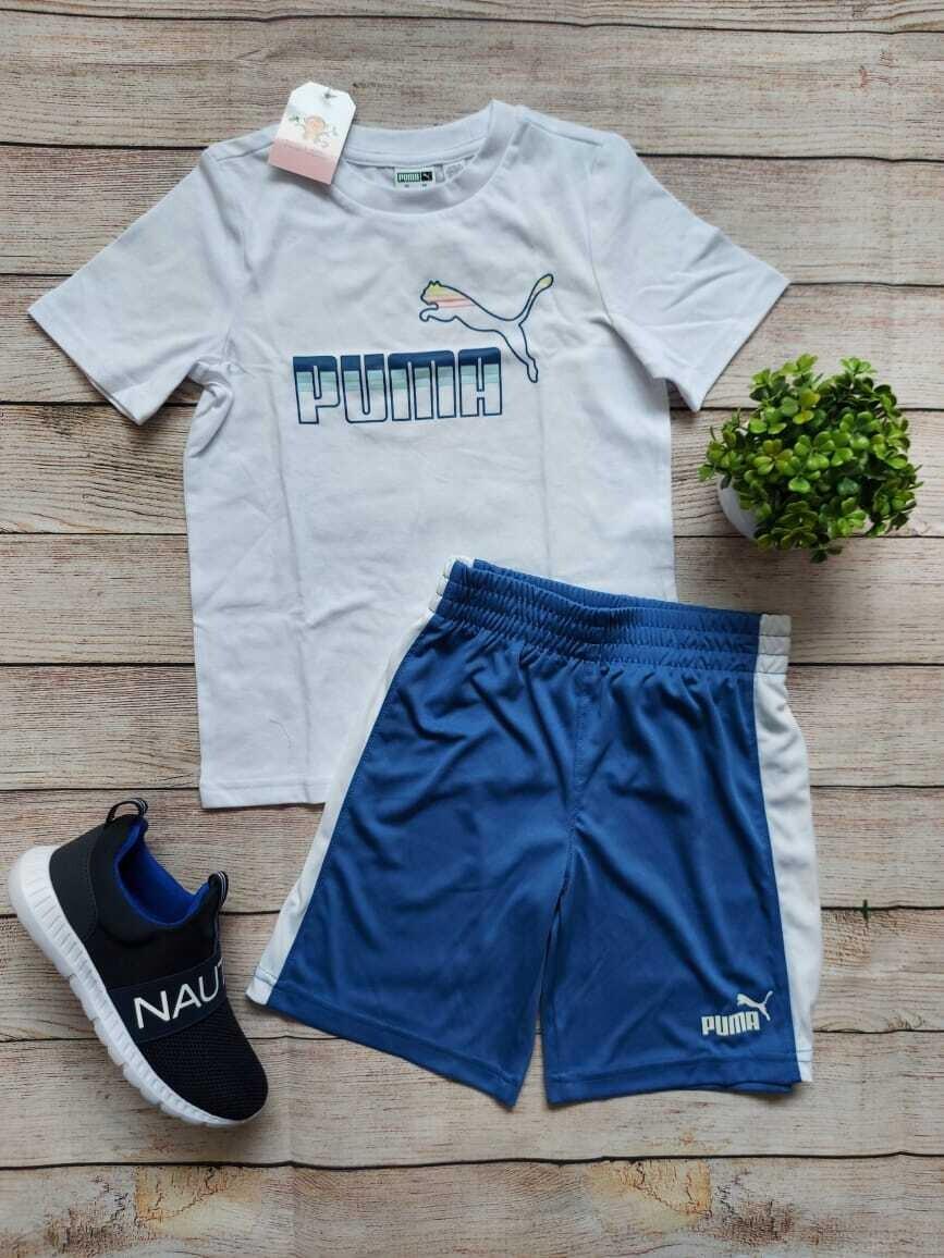 Set Puma, camiseta blanca + pantaloneta azul cielo, 6 años
