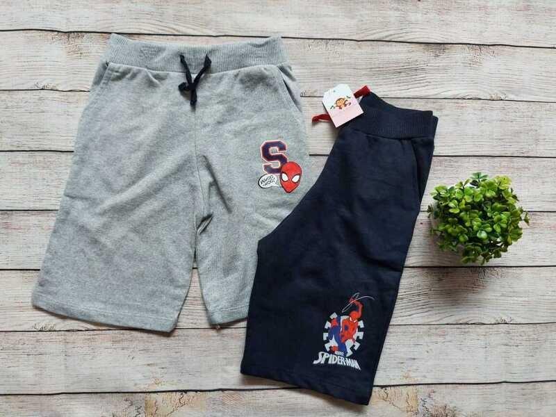 Pack 2 pantalonetas gris y azul spiderman, 7 años