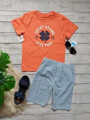 Set de camiseta anaranjada Lucky + pantaloneta gris rayas, 6 años