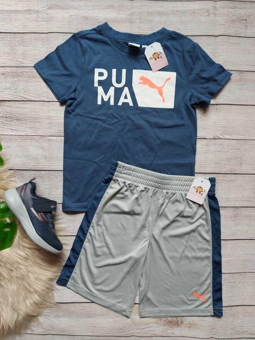 Set Puma, camiseta azul petróleo + pantaloneta gris con franjas, 6 años