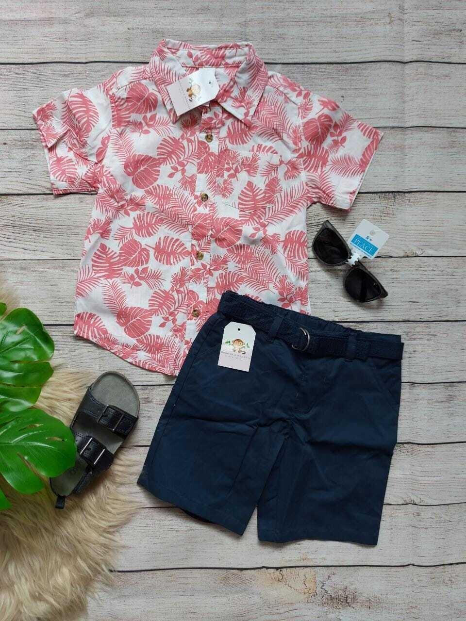 Set Little Me, camisa estilo hawaiana + bermuda azul con cinturón, 3 años