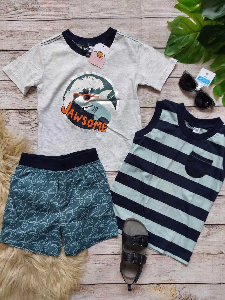 Set 3 piezas tiburón, camiseta ploma + camiseta bbd celeste con rayas azules + short playero, 3 años