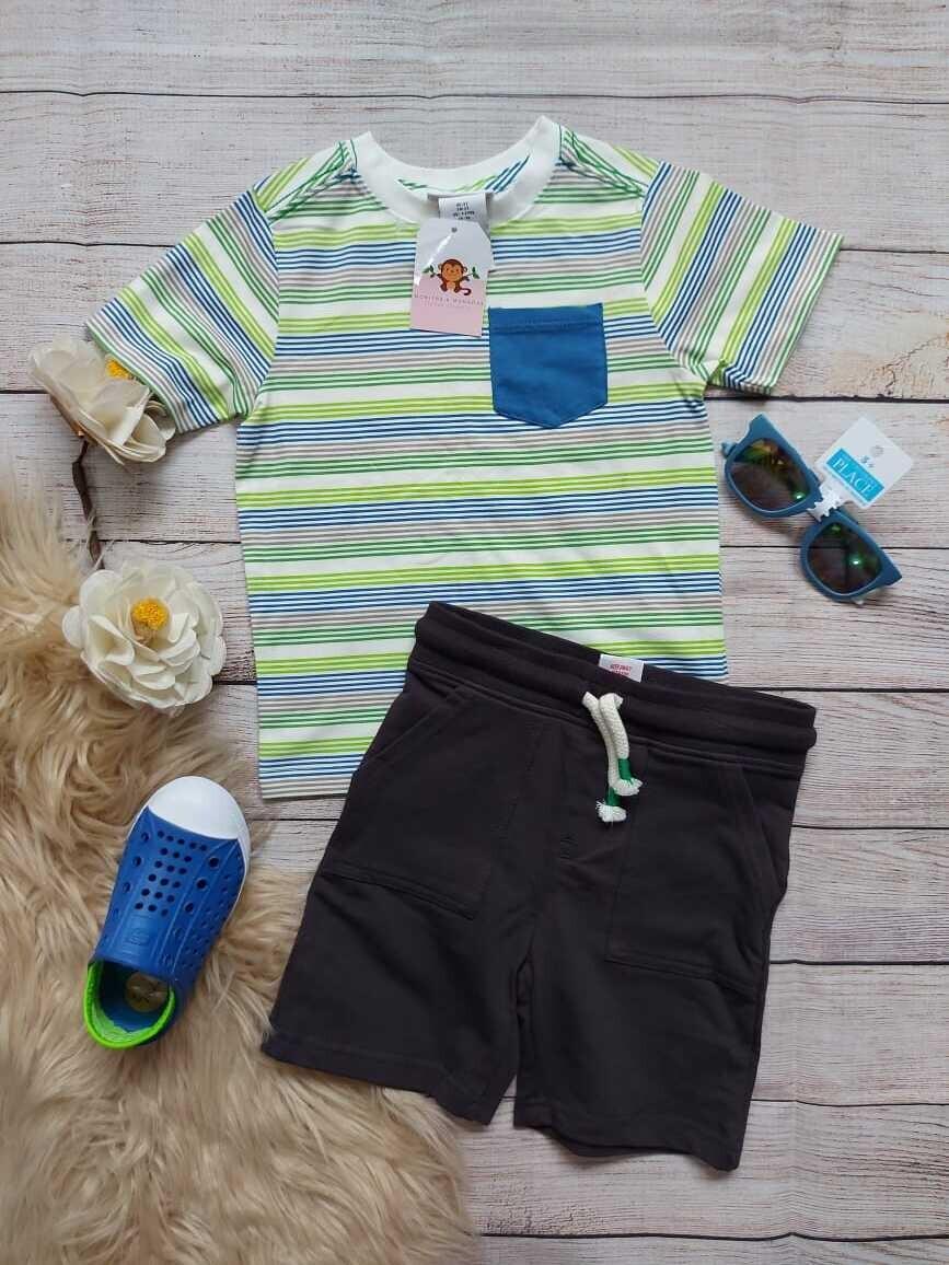 Set 2 piezas, camiseta a rayas verde y azul+ short negro, 2 años