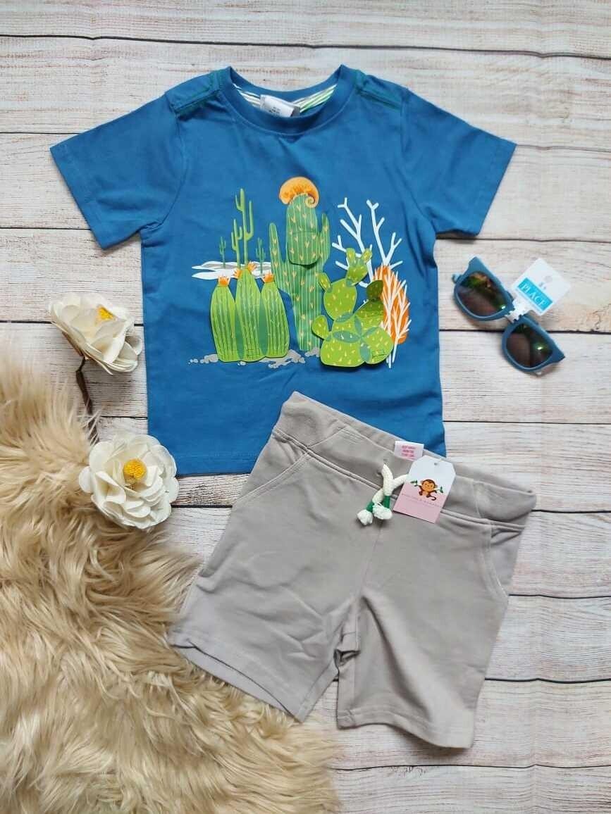 Set 2 piezas cactus, camiseta color azul + short, 2 años