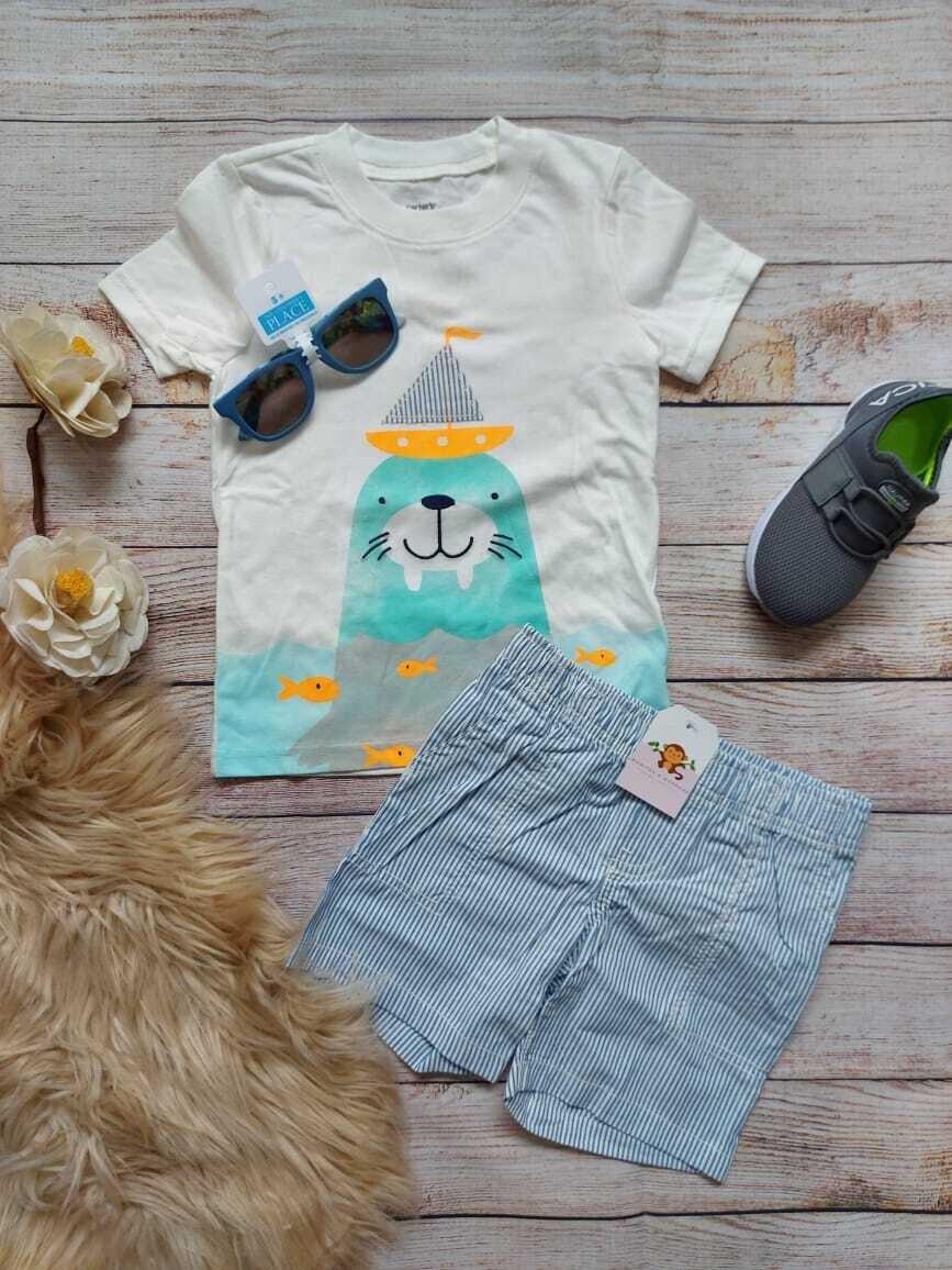 Set 2 piezas Carters, Camiseta color blanca + short celeste, 2 años