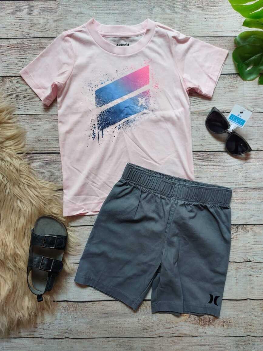 Set Hurley, camiseta palo rosa, short gris, 3-4 años