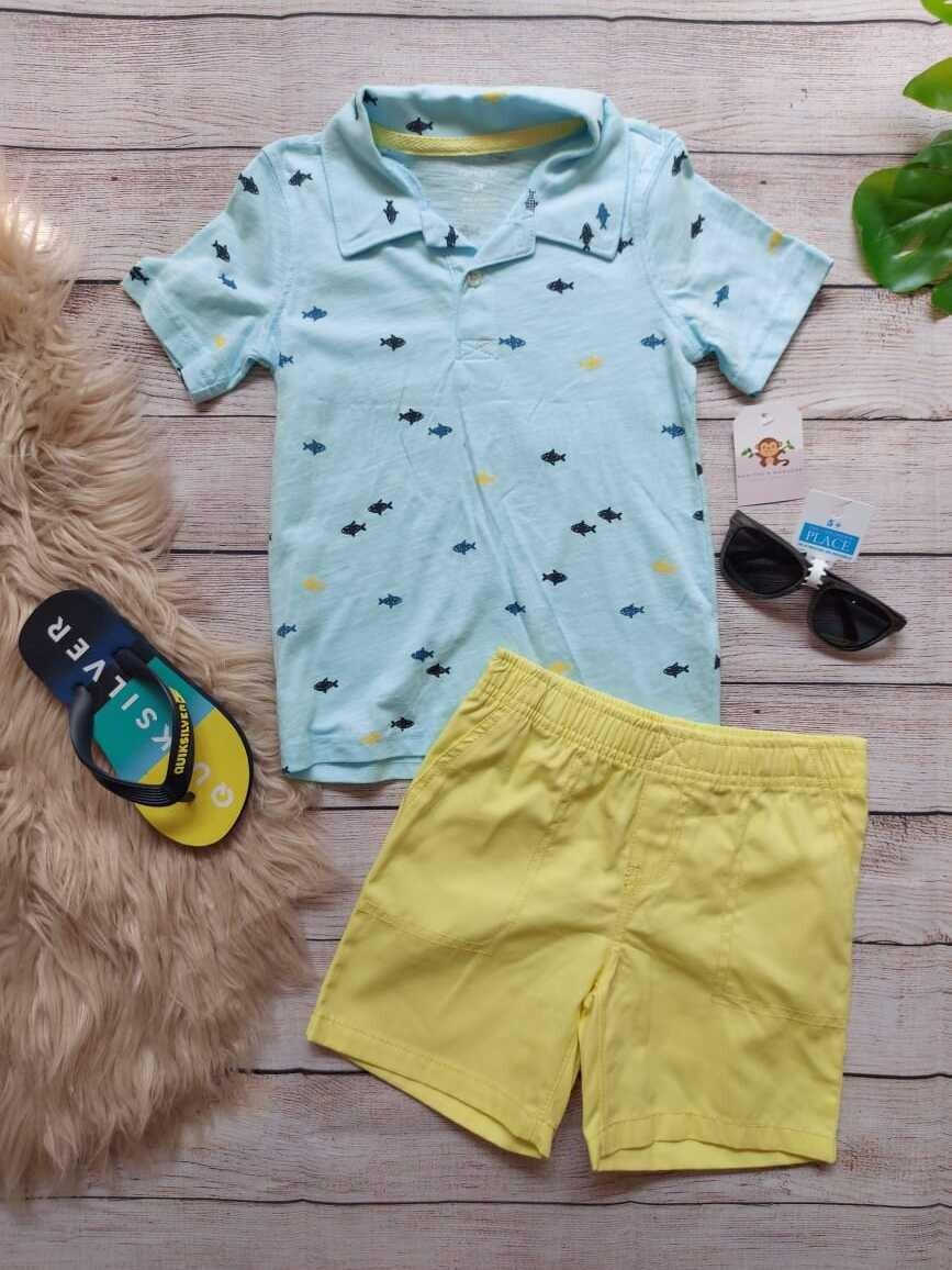 Set 2 piezas Carters, camiseta celeste + short amarillo, 3 años