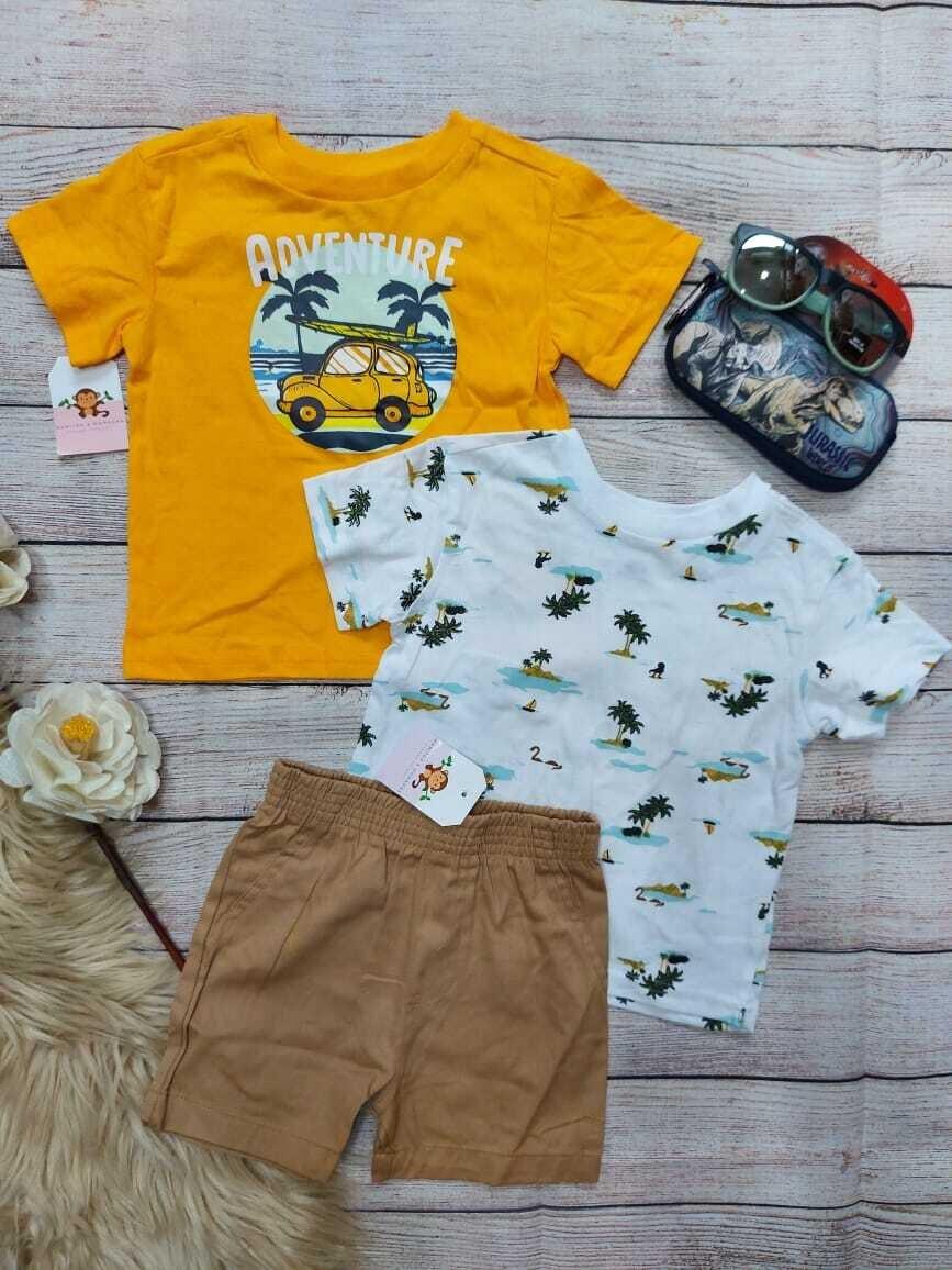 Set 3 piezas carritos, 2 camisetas + short caqui, 18 meses