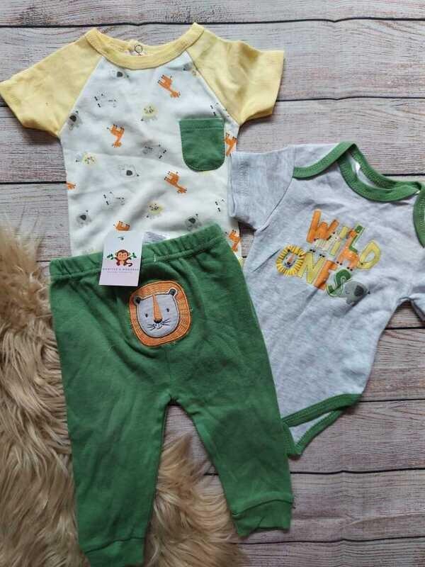 Set 3 piezas, bodysuit gris + camiseta + pantalón verde, 3 a 6 meses