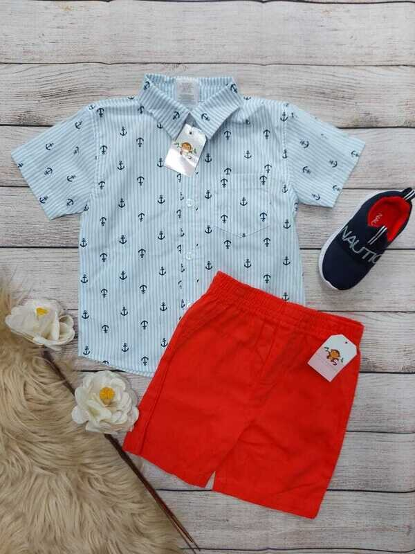 Set 2 piezas, camisa celeste + short rojo, 24 meses