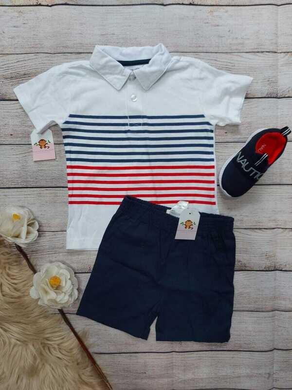 Set 2 piezas, camiseta tipo polo blanca a rayas + short azul marino, 24 meses
