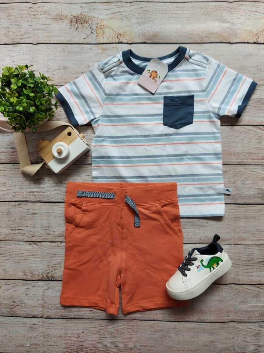 Set 2 piezas, camiseta rayada + short anaranjado, 24 meses
