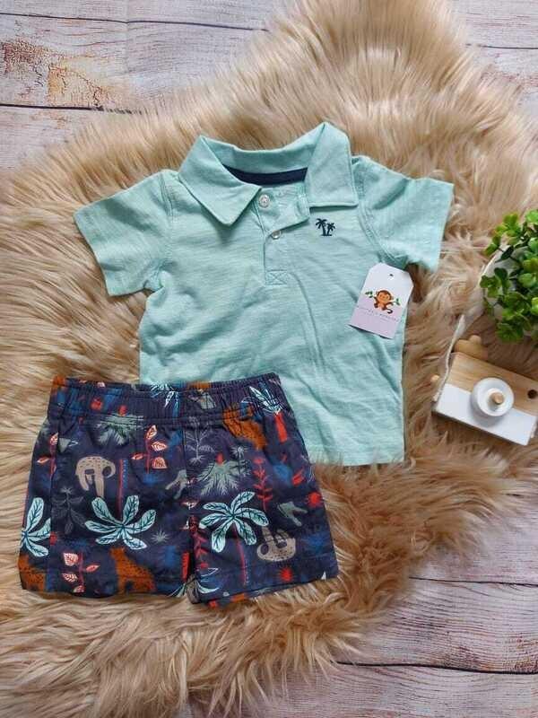 Set 2 piezas Carters, camiseta tipo polo celeste + short azul, 3 a 6 meses