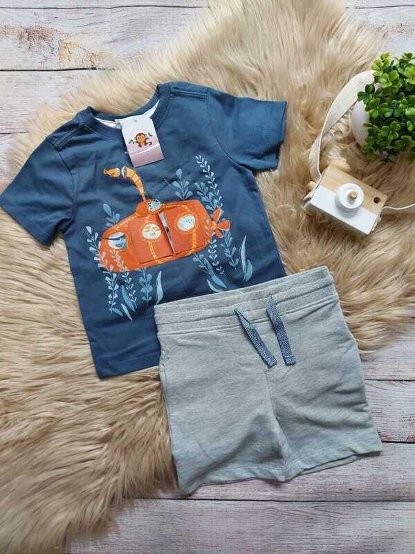 Set 2 piezas, camiseta azul + short gris, 18 meses
