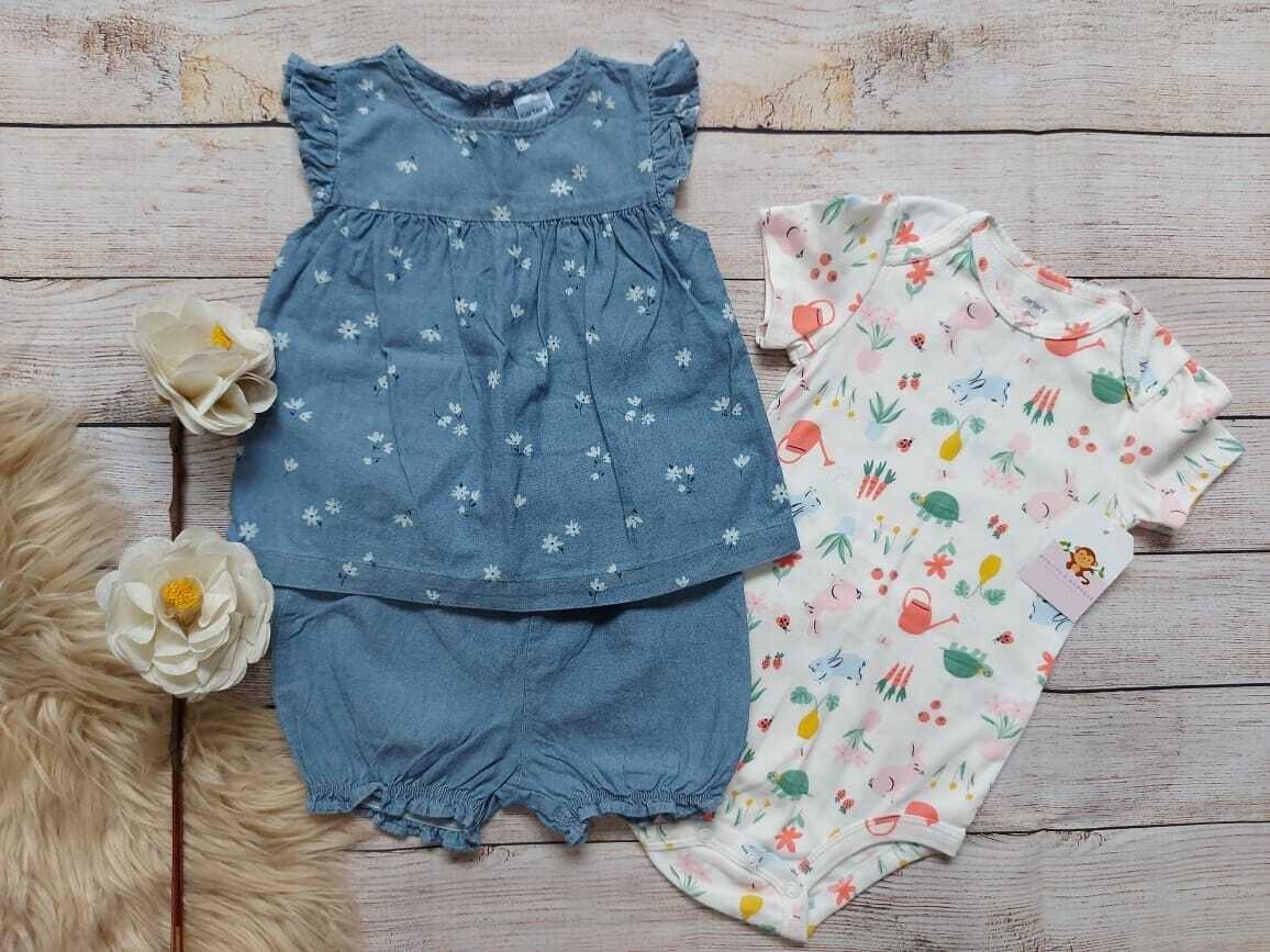 Set 3 piezas Carters, Romper blanco + blusa azul + short azul, 18 meses