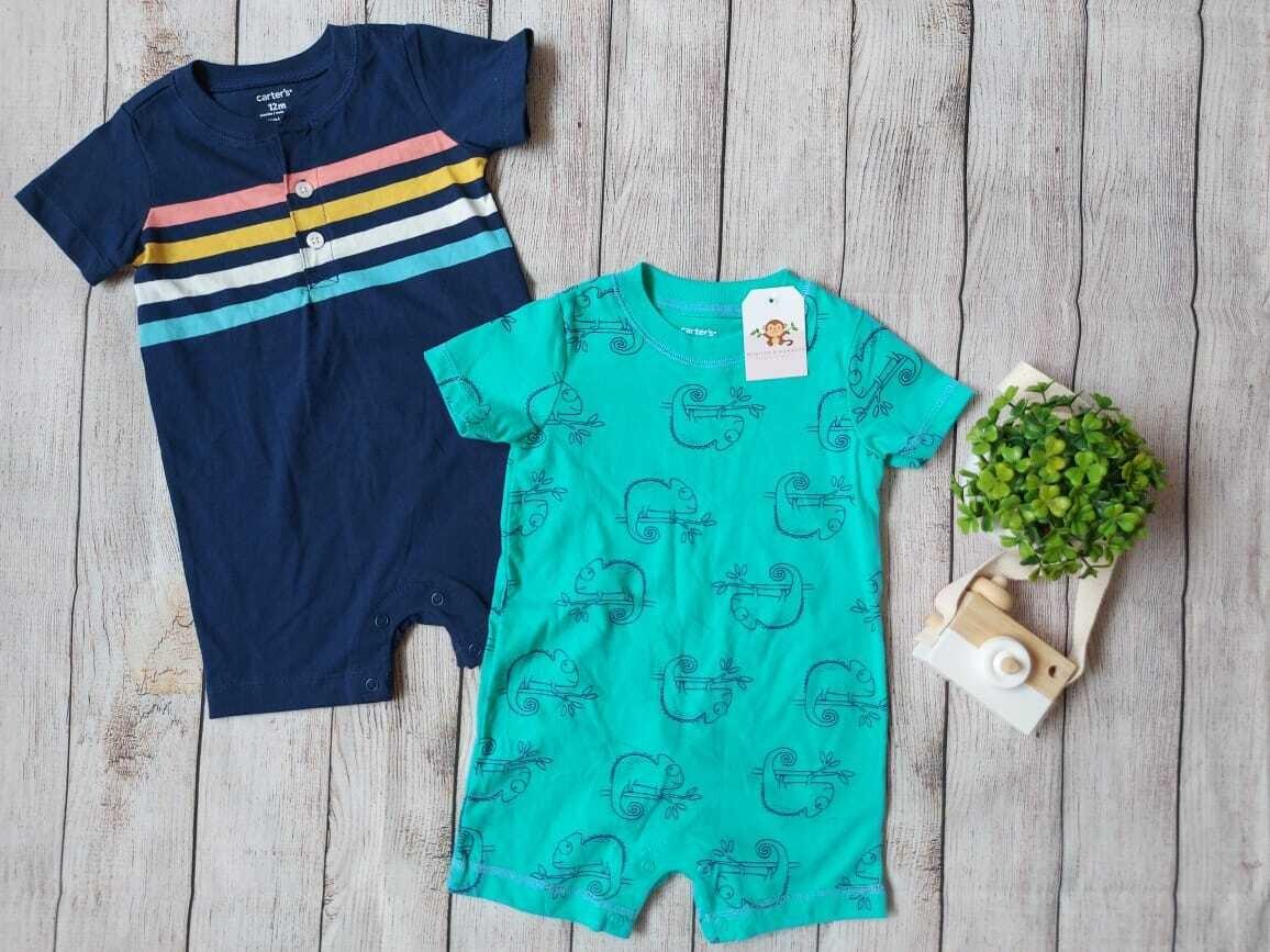 Pack 2 rompers Carters, azul y turquesa, 12 meses