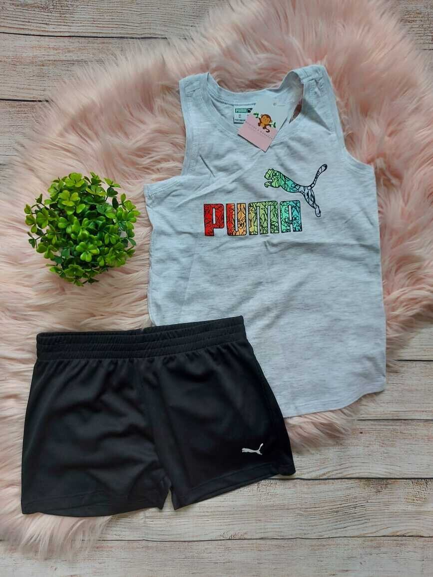Set deportivo 2 piezas Puma, blusa blanca + short, 6 años