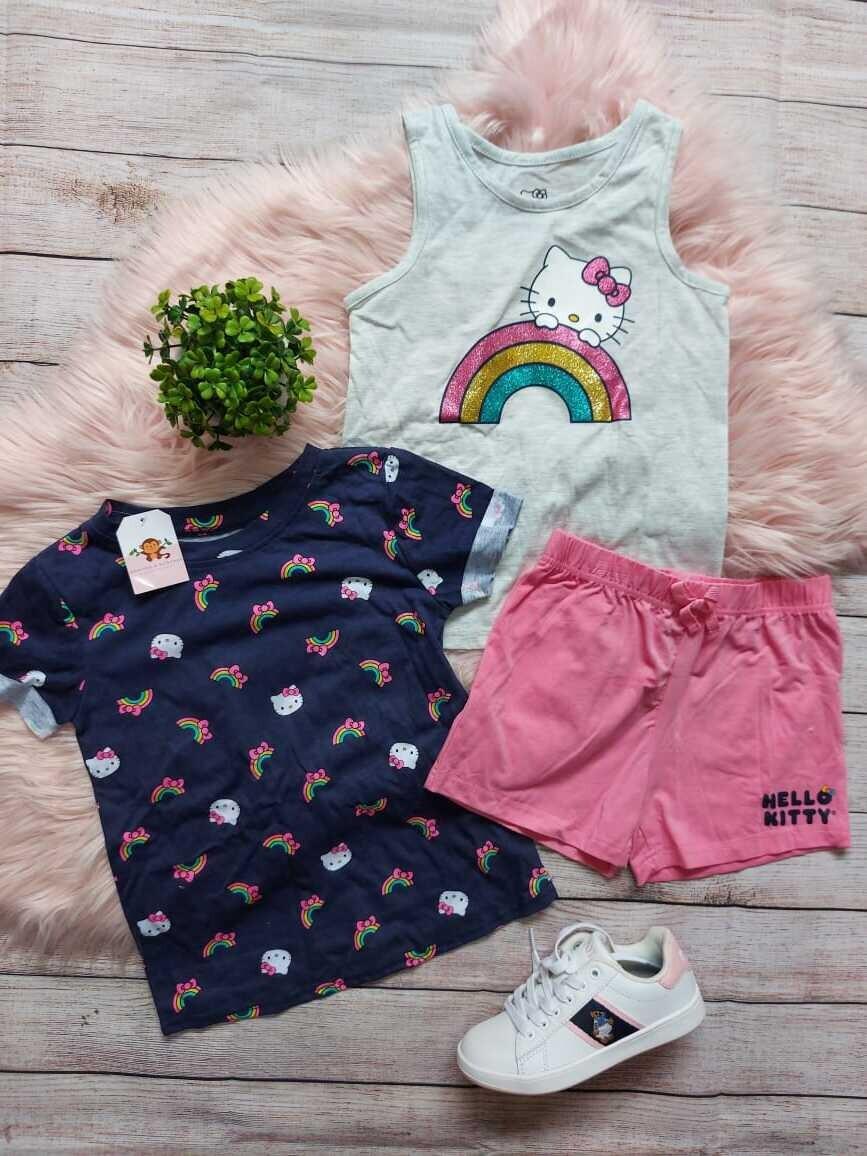 Set 3 piezas Hello Kitty, 2 blusas + short, 6 años